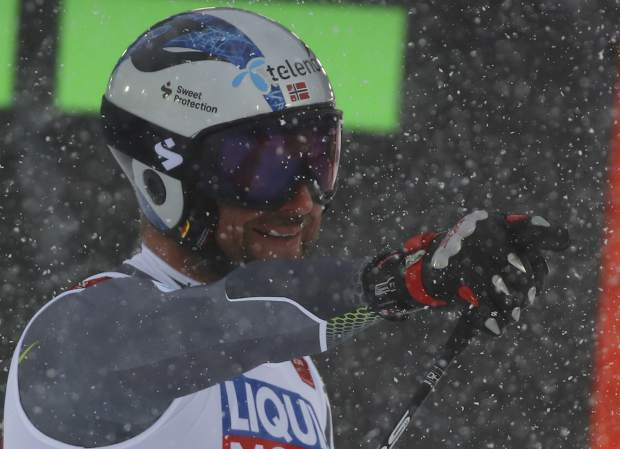 Norway's Aksel Lund Svindal reacts in the finish area after the men's downhill race, at the alpine ski World Championships in Are, Sweden on Saturday.