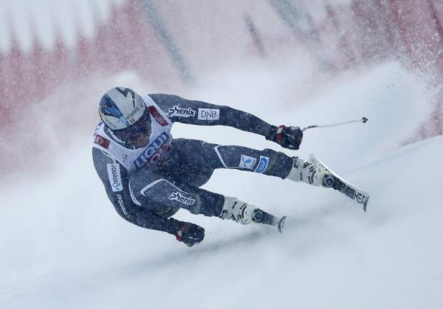 Norway's Aksel Lund Svindal speeds down the course during the men's downhill race, at the alpine ski World Championships in Are, Sweden on Saturday.