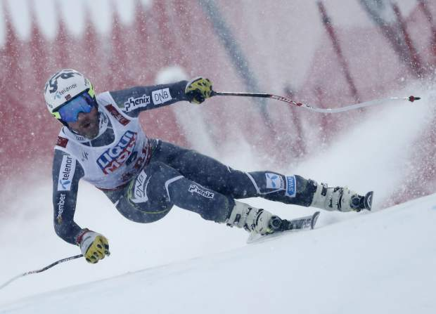 Norway's Kjetil Jansrud speeds down the course during the men's downhill race at the alpine ski World Championships in Are, Sweden on Saturday.