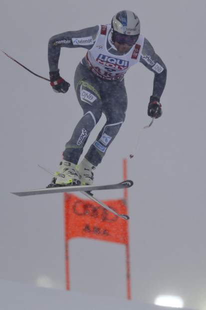 Norway's Aksel Lund Svindal competes during the men's downhill at the alpine ski World Championships in Are, Sweden on Saturday.