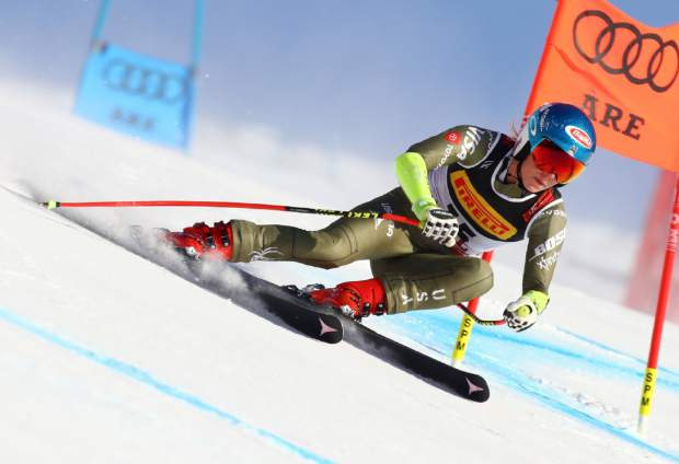 Mikaela Shiffrin competes on her way to win the women'sSsuper-G at the alpine ski World Championships, in Are, Sweden on Feb. 5
