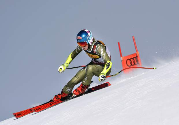 Mikaela Shiffrin competes during the women's super G at the alpine ski World Championships, in Are, Sweden on Feb. 5.