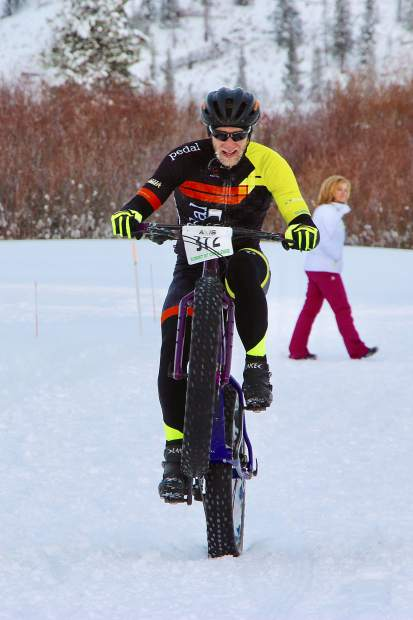 Mark Meadows of Littleton competes during Saturday's Ullr Bike race at the Gold Run Nordic Center in Breckenridge. Meadows took second place overall and won the amateur men 40-49 division  with a time of 01:03:48.73