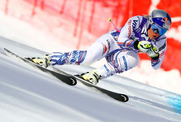 Lindsey Vonn competes during the women's World Cup downhill ski race in Cortina D'Ampezzo, Italy on Jan. 19.
