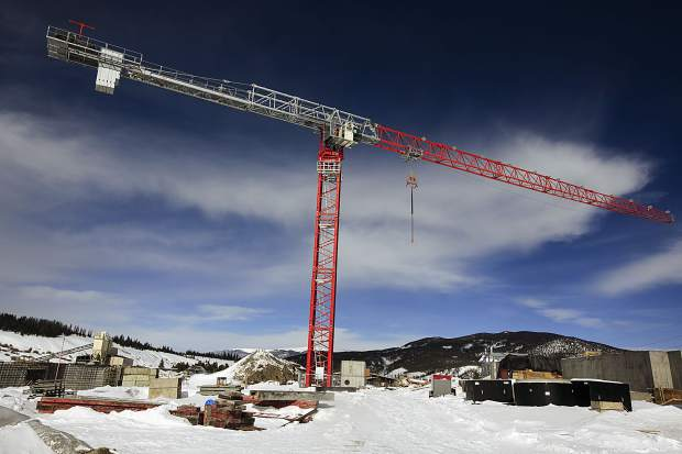 A large crane hovers over construction of a new water treatment plant Friday, Feb. 8, in Breckenridge. The $58 million project that will give the town a backup source of water is said to be running on time and tracking within its budget.