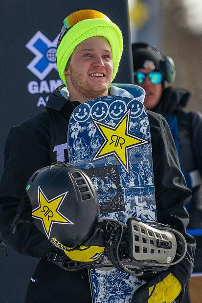 Kyle Mack waits for his score after his final run for the men's snowboard slopestyle elimination round for X Games in Aspen on Friday.