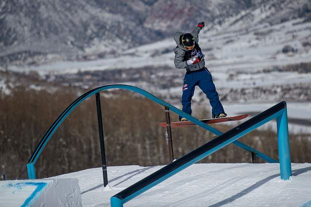 Chris Corning of Silverthorne executes a trick down the tear-drop rail at Winter X Games Aspen at Buttermilk Mountain in Aspen in January 2019.