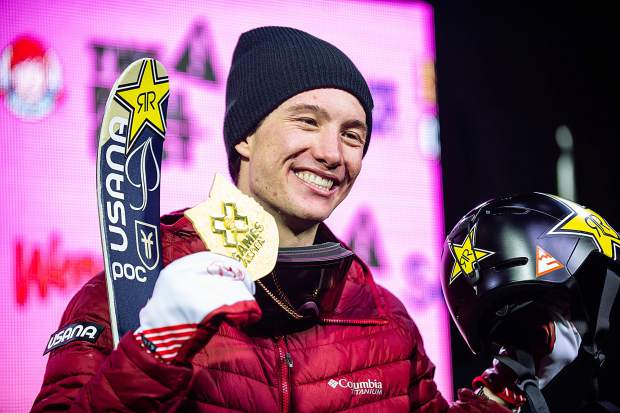 Alex Ferreira of Aspen celebrates with the first Winter X Games gold medal of his career after winning the men's ski superpipe competition at Buttermilk Mountain in Aspen on Thursday night.