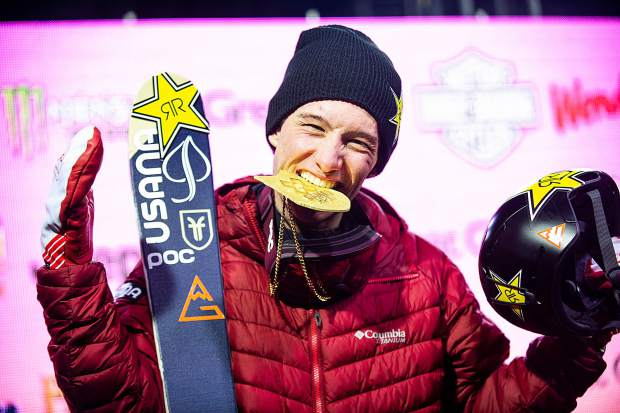 Alex Ferreira of Aspen celebrates with friends after winning the men's ski superpipe competition at Buttermilk Mountain in Aspen on Thursday night.