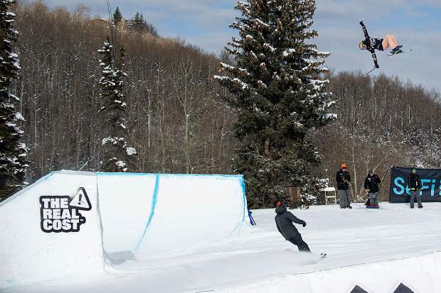 Kelly Sildaru launches off of one of the slopestyle jumps Friday during a practice run for the women's finals at Buttermilk for X Games. Sildaru of Estonia won her third Aspen X Games slopestyle gold medal on Jan. 25, 2019 with a 99-point run.