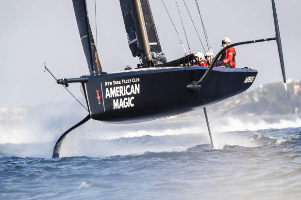 In this photo provided by New York Yacht Club's American Magic America's Cup sailing team, the American Magic test boat known as