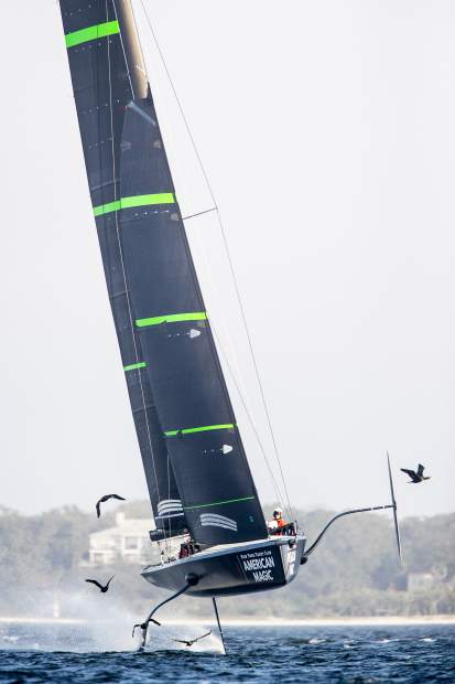 In this photo provided by New York Yacht Club's American Magic America's Cup sailing team, their test boat