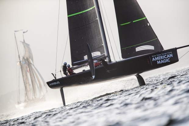 In this photo provided by New York Yacht Club's American Magic America's Cup sailing team, the test boat known as