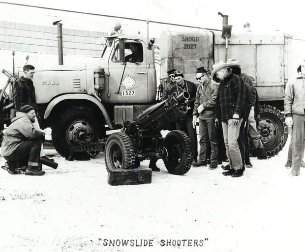 This Colorado Department of Transportation photo showcases avalanche mitigation crew members assessing their artillery.