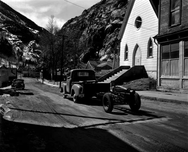 A 75-millimeter Howitzer used for avalanche mitigation and snow removal is seen in Silver Plume in March 1953.