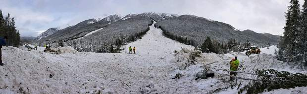 A look at the avalanche path that dumped 15 feet of snow on C0 91 near Copper Mountain, trapping multiple cars in the slide.