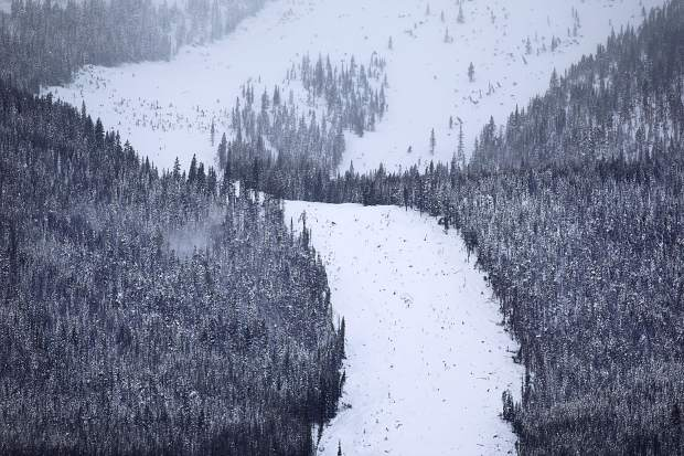A new avalanche slide path seen below Mount Victoria Thursday, March 7, in Frisco.