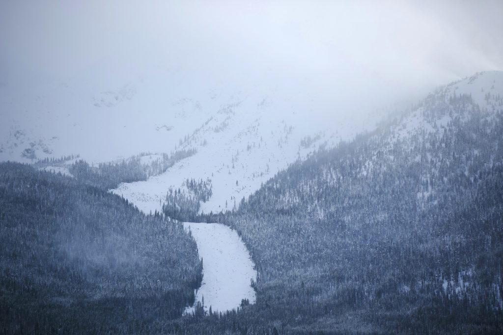 An avalanche slide path seen March 7 below Mount Victoria near Frisco.