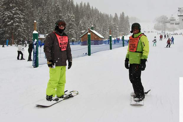 Snowboarders ride during this past weekend's United States Association of Blind Athletes Winter Festival event at Breckenridge Ski Resort, held in conjunction with the Breckenridge Outdoor Education Center.