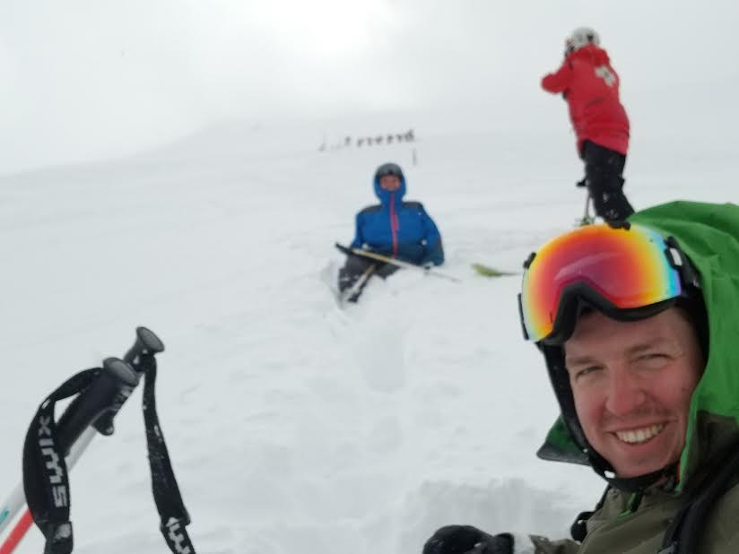 Ryan Zabik, 30, of Clawson, Michigan took this selfie with his cell phone after he and his friend George Micah Woods (seated), 31, of Pinckney, Michigan were caught in an in bounds avalanche at Breckenridge Ski Resort on Friday afternoon. The duo was traversing from the top of the Imperial Express SuperChair to ski Whale's Tail when they were caught in the slide.