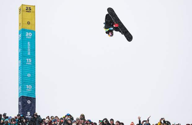 Scotty James throws down in the finals of the men's halfpipe competition at the Burton US Open Snowboarding Championships on Saturday in Vail. James took first, winning every contest this year.