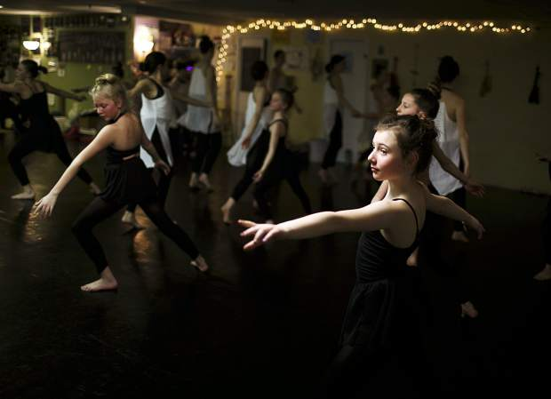 Carson Grace Earnest and other dancers from Summit and Park counties rehearse inside the Alpine Dance Academy studio in Frisco Wednesday, for the March's Dancers for Cancer showing. Alpine Dance Academy, Summit School of Dance, Studio B, The Silverthorne Recreation Center, and Aspirations Dance Studio will all come together and present a show on March 10th, 2019 at the Riverwalk Center in Breckenridge to raise funds for Dancers Against Cancer.