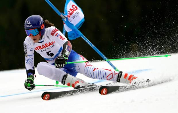 Slovakia's Petra Vlhova competes in the first run of an alpine ski women's World Cup giant slalom event in Spindleruv Mlyn, Czech Republic on Friday.