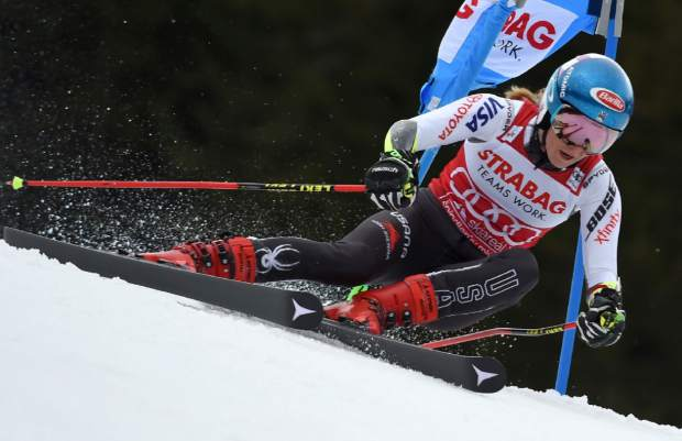 Mikaela Shiffrin competes in the first run of an alpine ski women's World Cup giant slalom event in Spindleruv Mlyn, Czech Republic on Friday.