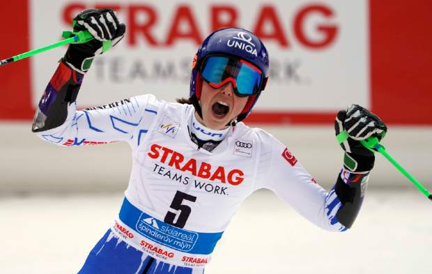 Slovakia's Petra Vlhova celebrates winning an alpine ski women's World Cup giant slalom event in Spindleruv Mlyn, Czech Republic on Friday.