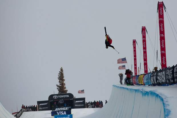 at the 2019 Toyota U.S. Grand Prix at Mammoth Mountain Resort in California. Hoerter's fifth-place finish against a collection of the world's best halfpipe skiers was the strongest yet of his young career.