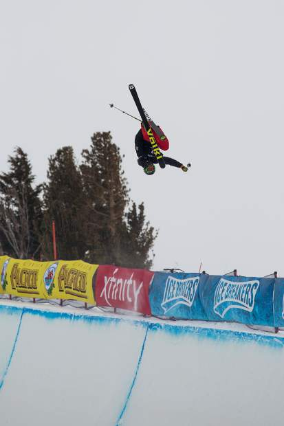 U.S. Rookie Team freeskier Jaxin Hoerter, 18, of Breckenridge spots his landing during Saturday's freeski halfpipe finals at the 2019 Toyota U.S. Grand Prix at Mammoth Mountain Resort in California. Hoerter's fifth-place finish against a collection of the world's best halfpipe skiers was the strongest yet of his young career.