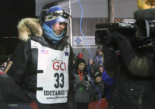 Joar Leifseth Ulsom, of Norway is interviewed after winning the Iditarod Trail Sled Dog Race in Nome, Alaska. Alaska's famed Iditarod Trail Sled Dog race kicks off this weekend.