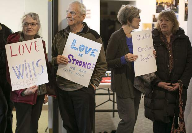 Summit County residents show support for the local Muslim community ahead of the prayer for the New Zealand mosque shooting victims, during the event held by the Summit Colorado Interfaith Council Friday, March 22, at the Lord of the Mountains Church in Dillon.