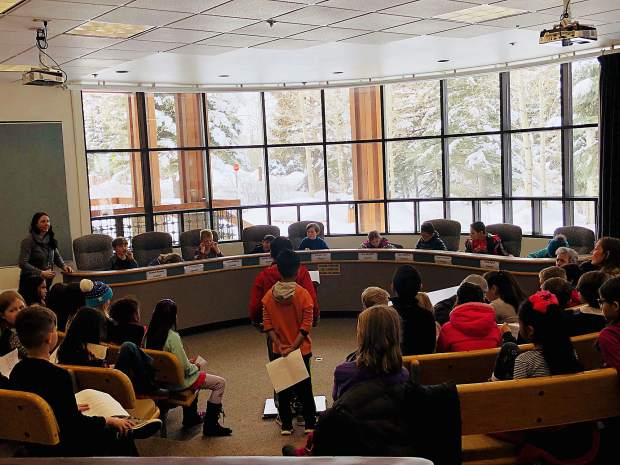 Third-graders from Dillon Valley Elementary hold a mock hearing for a proposed water park Friday at Silverthorne Town Hall after setting up their own town council.