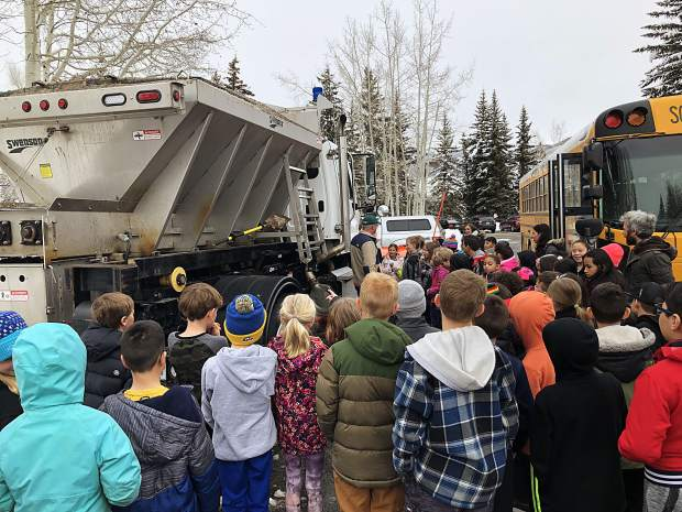 Third-grade students from Dillon Valley Elementary check out one of Silverthorne's snowplows Friday as they meet with town officials and learned about different functions of town government.