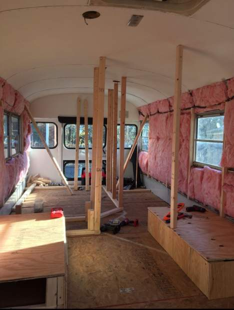 The interior of a school bus being renovated in November 2018 is viewed in Durham, North Carolina. The bus was purchased by Jack Labosky, a minor league pitcher in the Tampa Bay Rays organization, and his girlfriend Madi Hiatt. They plan to live out of the bus during Labosky's first full professional season. Labosky used his $3,000 signing bonus to buy the bus, and he and Hiatt renovated it this offseason.