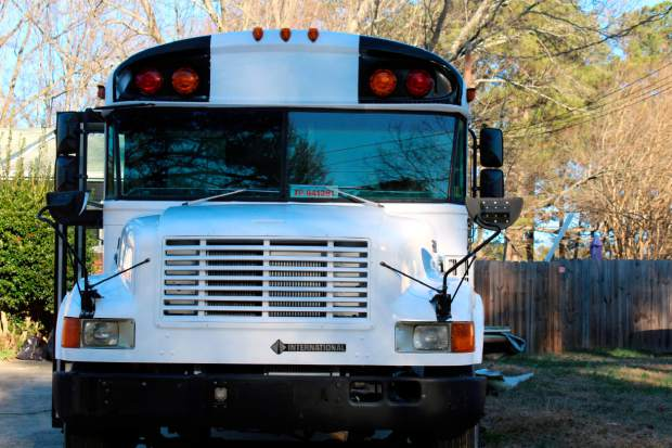 A renovated school bus is viewed in Durham, North Carolina in January. The bus was purchased by Jack Labosky, a minor league pitcher in the Tampa Bay Rays organization, and his girlfriend Madi Hiatt. They plan to live out of the bus during Labosky's first full professional season.