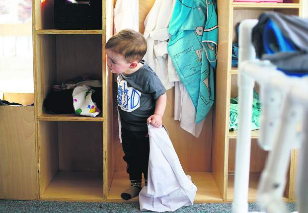 AJ Parisi Peters, 2 , peers from the