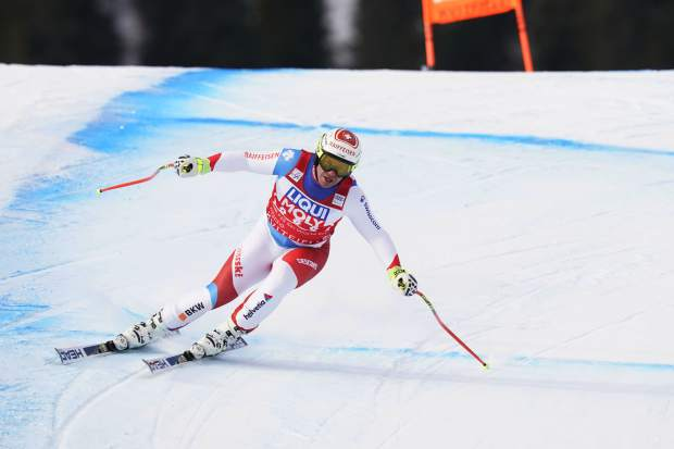 Switzerland's Beat Feuz competes during the men's downhill race in the FIS Ski World cup Saturday, March 2, 2019, in Kvitfjell, Norway. (Erik Johansen/NTB scanpix via AP)