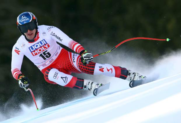 Austria's Matthias Mayer competes in an alpine ski, men's World Cup downhill, in Kvitfjell, Norway, Saturday, March 2, 2019. (AP Photo/Alessandro Trovati)