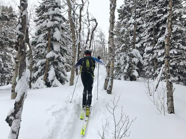 Breckenridge resident Sam O'Keefe leads the way during the Audi Power of Four ski mountaineering race on March 2, near Aspen.