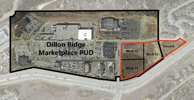 This diagram provides a look at the potential outline of the proposed facility's site, located adjacent to the Dillon Ridge Marketplace. Property records show all four parcels have been bought by the same owner for $5.8 million combined.