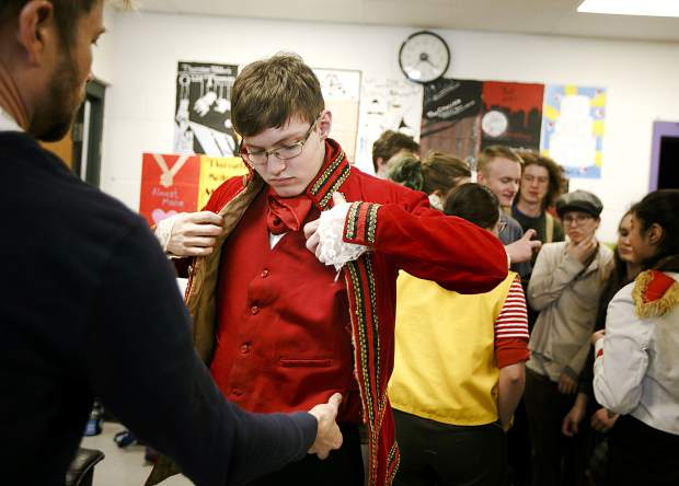 Summit High School student Ian Anderson, as Black Stache, dresses up for
