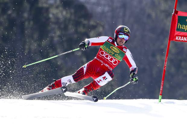 Austria's Marcel Hirscher speeds down the course during an Alpine Skiing World Cup men's Giant Slalom, in Kranjska Gora, Slovenia on Saturday.