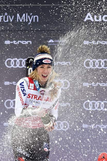 Bubbly, anyone? Mikaela Shiffrin enjoys her 15th World Cup win of the season on Saturday. The previous record for wins in a campaign was held by Switzerland's Vreni Schneider with 14.