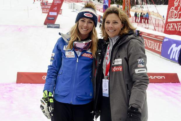 Mikaela Shiffrin, left, and her mother, Eileen, celebrate another win on Saturday, a slalom in the Czech Republic. They also presumably will celebrate Mikaela's 24th birthday on Wednesday.