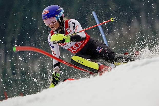 Mikaela Shiffrin speeds down the course during her second run of a World Cup slalom on Saturday in the Czech Republic. Shiffrin had recorded the fastest times in both of her runs Saturday on her way to an easy win.