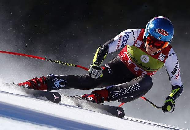 Mikaela Shiffrin charges to a tie for fourth place during Thursday's World Cup finals super-G in Soldeu, Andorra. Despite it not being a major goal of the season, Shiffrin won this year's World Cup super-G championship.