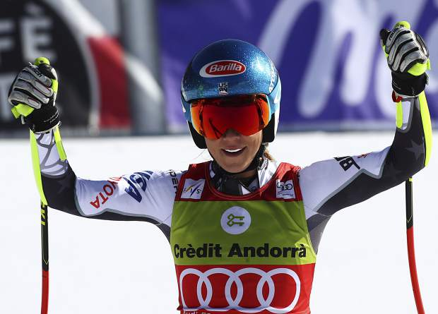 Mikaela Shiffrin reacts after competing in the World Cup finals super G in Soldeu, Andorra, on Thursday. In addition to winning a super-G globe, Shiffrin became only the third athlete to earn 2,000 points during a single season.
