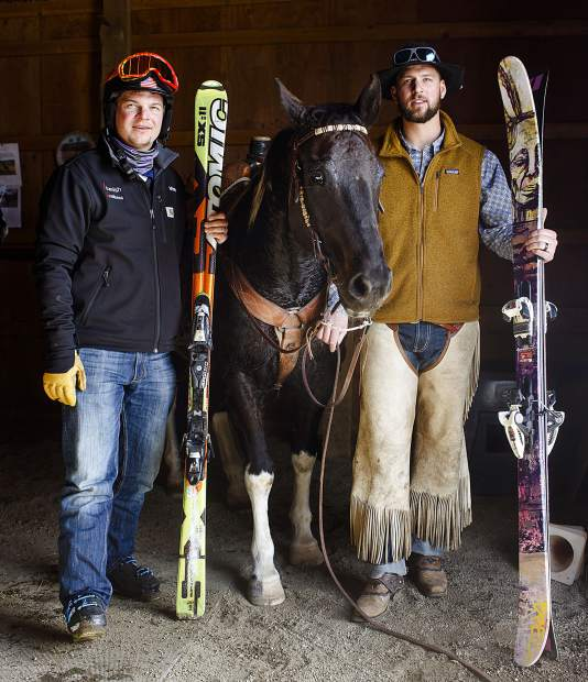 The Summit County brotherly skijoring duo of Vinny (left) and AJ Pestello are see on Wednesday, Feb. 27, inside a barn at Pass Creek Ranch near Ute Pass north of Silverthorne. The brothers prepared for the upcoming weekend's 71st annual Leadville skijoring event at the ranch, which is taken care of by their good friend Al Mikkelsen.